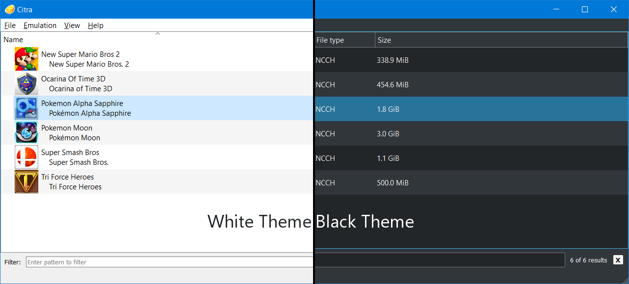 Comparison of Dark Theme and Light Theme